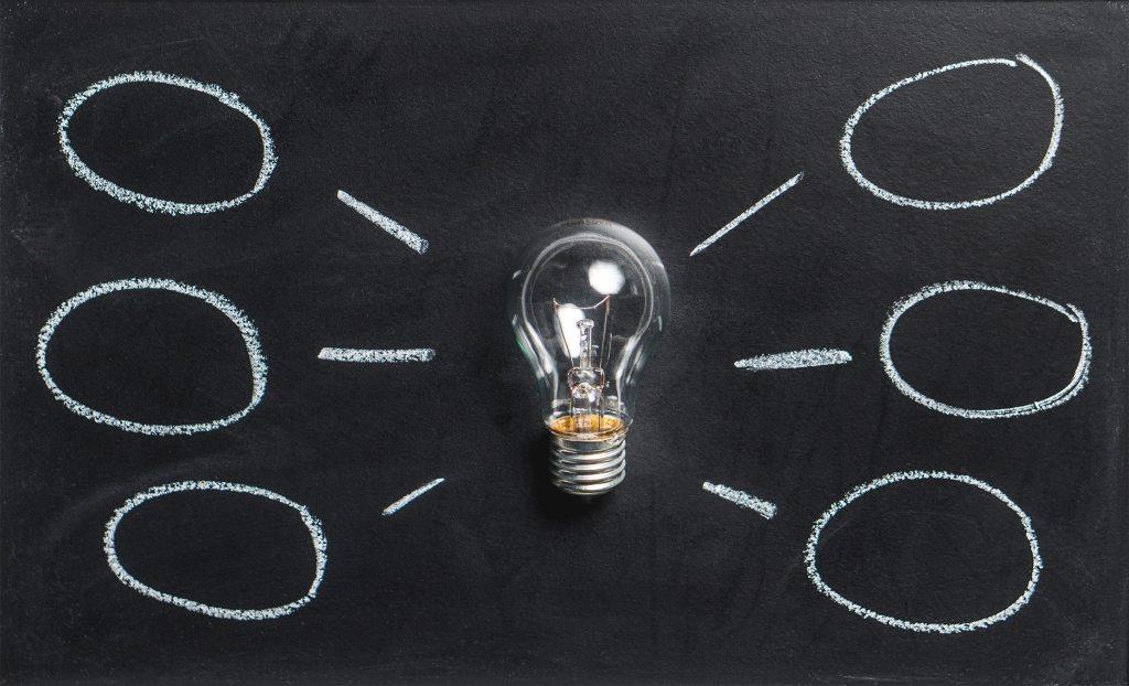 Light bulb on blackboard as center of flow chart