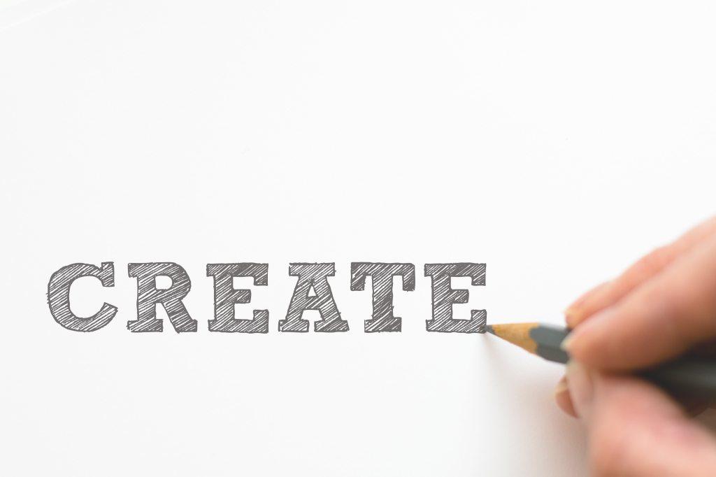 "Pencil drawing word ""Create"""