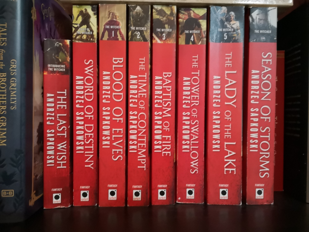 Image of the 8 novels in Andrei Sapokowski's Witcher series