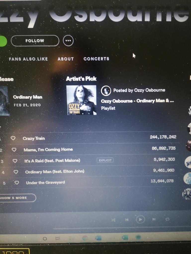 Ozzy Osbourne's Spotify page