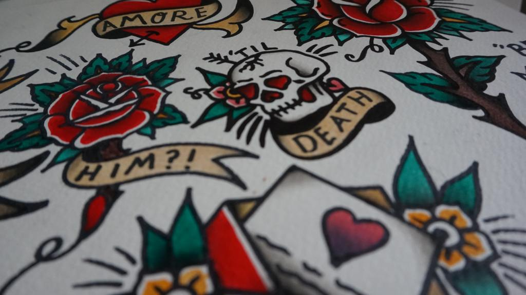 Traditional tattoo art of skull, rose, ace of hearts, and a heart with an arrow through it
