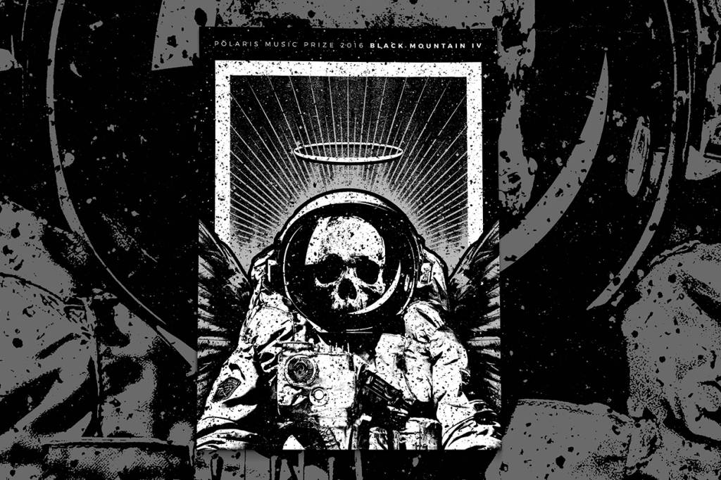 Artwork depicting skeleton in a spacesuit in black and white. Black Mountain IV band poster.