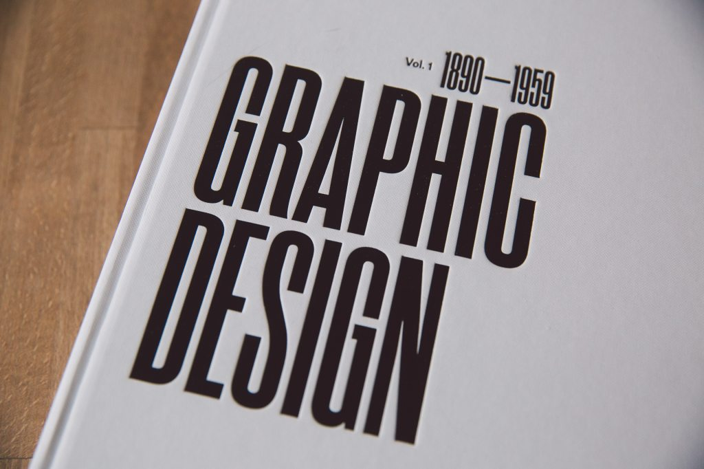 Close up of book labelled Graphic Design