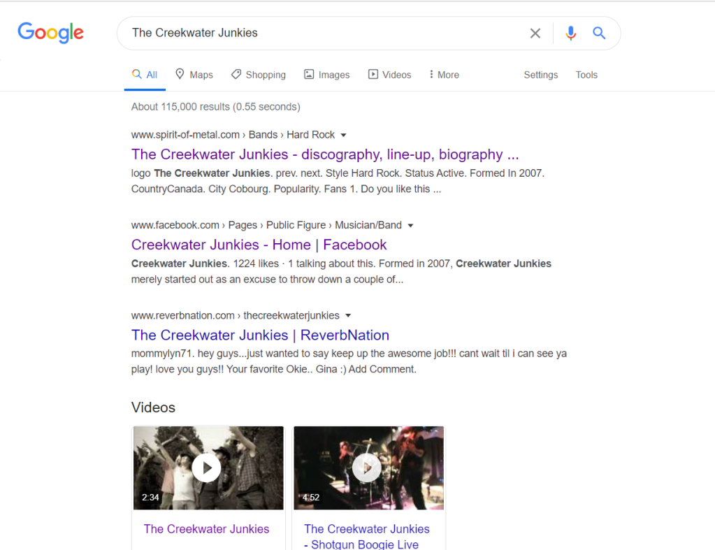 Google search results for The Creekwater Junkies
