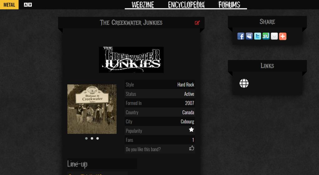 The Creekwater Junkies page on website Spirit-of-metal.com