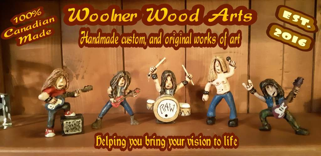 Wood carved rock and roll heavy metal band figurines, drummer, two guitar players, bass player and singer.
